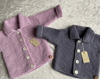 Hand Knitted Baby Cardigan with Collar