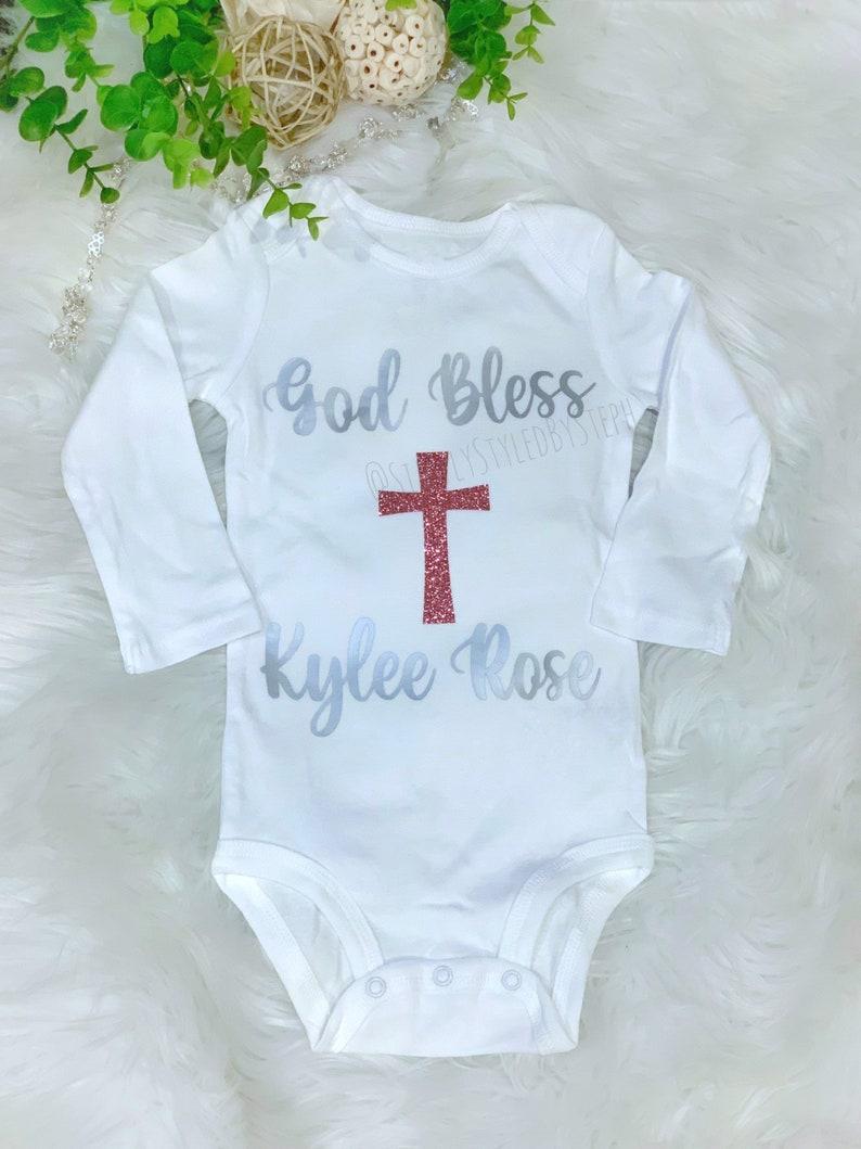 Cross } God Bless Shirt Personalized Baptism Custom Baby Name Bodysuit {Christening for newborn boy or girl
