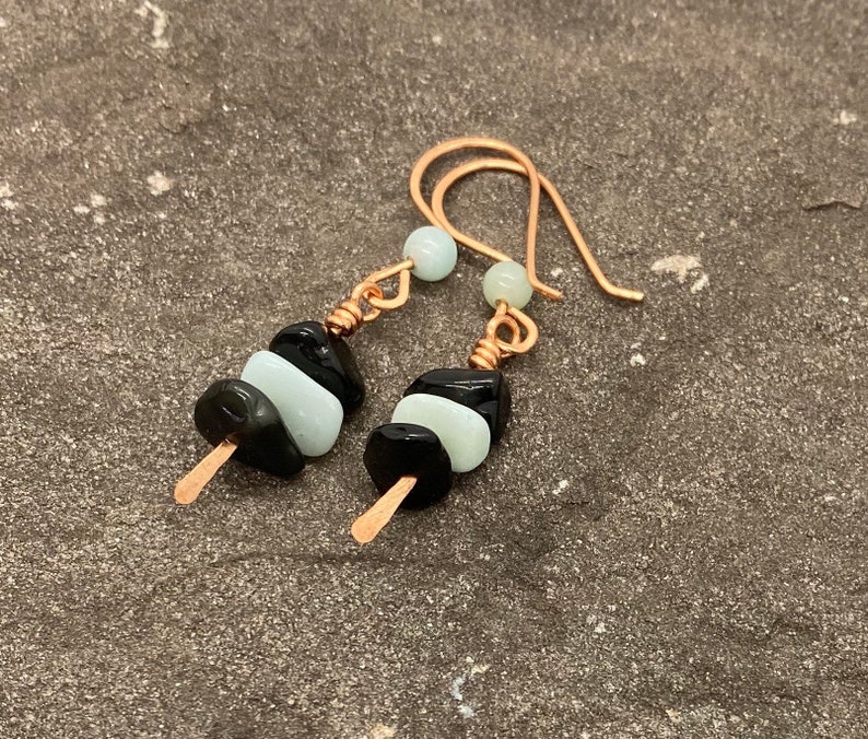 Hammered Copper Earrings Black and Blue Earrings Teen Gift Amazonite Jewelry College Graduation Gift Best Friend Birthday Gift for Her