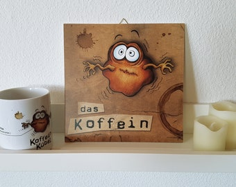 Wall decoration. Mural. The caffeine. Coffee. Picture print with illustration on Forex hard foam plate, square, 210 x 210 mm.