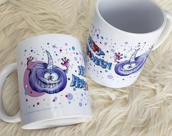 Cup Happy Halloween. Motif cup made of ceramic. Cup. Coffee. Tea. Cup. Pumpkin. DoodleBeeArtwork.