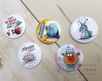 Magnetic button set IIII. Five buttons with different motifs, diameter 55 mm.