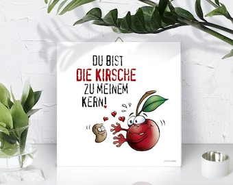 Wall decoration. Mural. You are the cherry to my core. Love. Picture print on Forex hard foam plate, square, 210 x 210 mm.