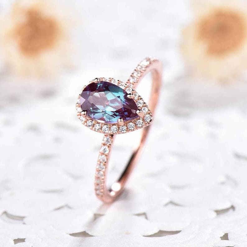 Lab Alexandrite color changing gemstones ring engagement ring 925 Sterling Silver alexandrite ring Lab Created Alexandrite ring