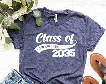 Graduation Class of Personalized T-Shirt, Class Of 2035, Graduation T Shirts, School Shirts, Fun Tees, T Shirts for Women, T Shirts for Men