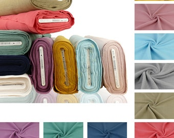 On Sale 63 Colors - 100% Cotton Double Gauze Baby Cotton Muslin Crinkle Dressmaking Plain Lightweight Fabric Material