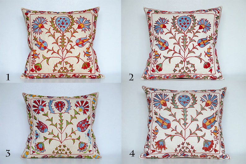 Set of 4 Suzani Cushion  Double Sided Cushion  Pillow Set  Square Red-white pillow Red pillow set  Floral Cushion  ikat pillow
