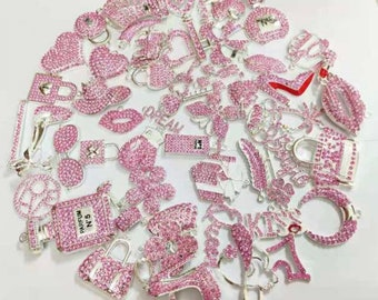 Pink Bulk Rhinestone Charms   Wholesale Bling Charms  for bracelets