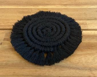 Black Macrame Coaster Set of 2