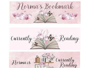 Personalized Floral Currently Reading Essential Single or Complete Set Bookish Books Laminated Bookmarks