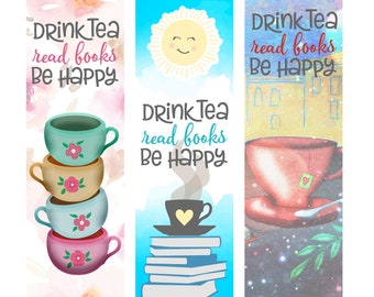Drink Tea Read Books Be Happy Individual or Set of 3 Bookworm Bookish Laminated Bookmarks