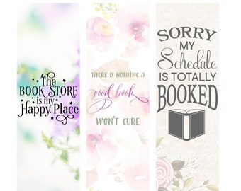 The Bookstore is my Happy Place Bookish Individual or Complete Set of Book Lover Bookmarks * Reading * Books