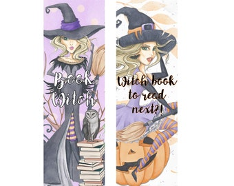 Book Witch Bookmarks * Halloween * Pumpkins * Reading * Books