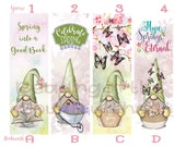 Spring Nordic Gnomes Floral Bookmarks Individual or Complete Set of Eight