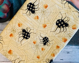 Witchful Thinking * Halloween Spiders, Cobwebs and Candy Corn Book Sleeve * Booksleeve/iPad/Tablet Cover