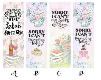 My Book Club Reads Wine Labels and Sorry I Can't I'm Reading Today Individual or Complete Set of Book Lover Bookmarks * Reading * Books