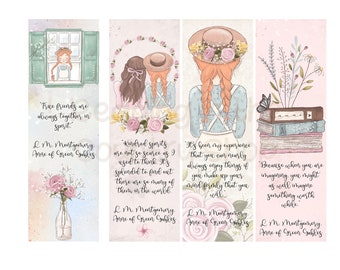 Vintage Anne of Green Gables Bookmarks L. M. Montgomery Quotes Individual or Complete Set of Seven