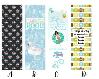 Pool, Vacation and Summer Themed Individual or Complete Set of Book Lover Bookmarks * Reading * Books