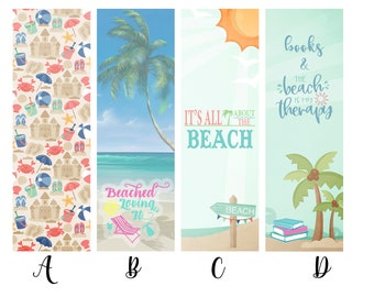 Beach, Vacation and Summer Themed Individual or Complete Set of Book Lover Bookmarks * Reading * Books