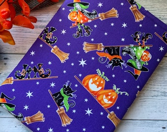 Here We Glow (Glow in the Dark) Flying Witches Cats Halloween Book Sleeve * Booksleeve/iPad/Tablet Cover