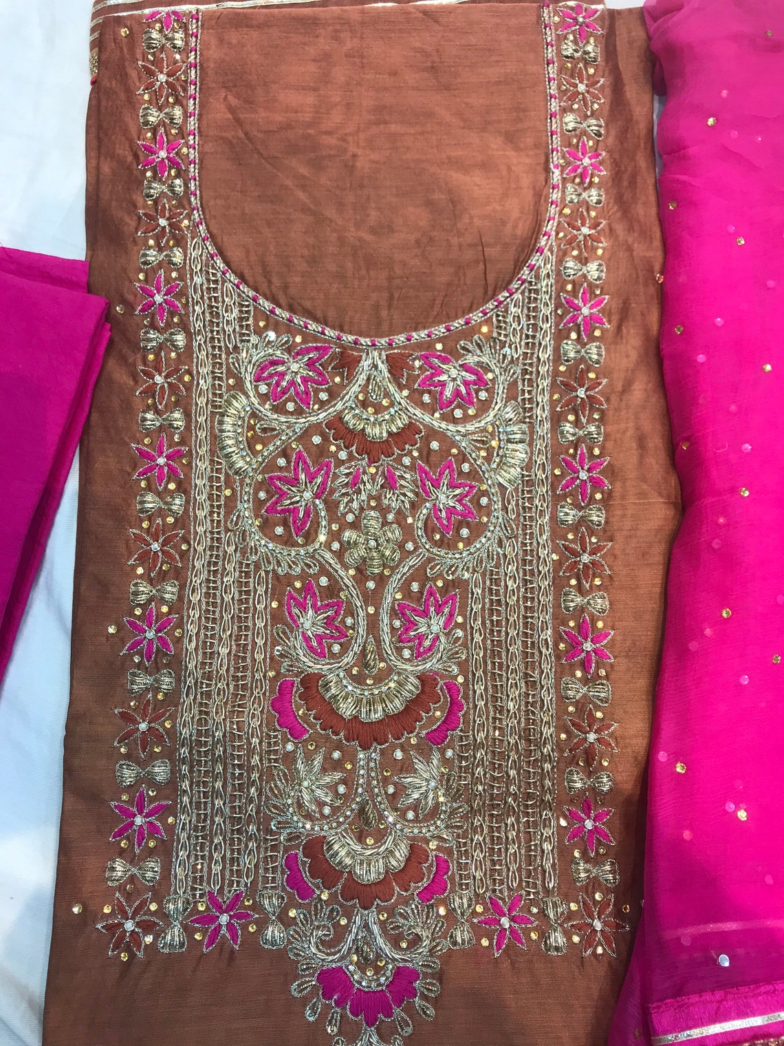 Hand Embroidered Salwar Kameez Dupatta In Rust With Beautiful