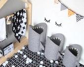 Shark Laundry Hamper, Toy Storage, Nursery Storage, Felt Bag for Toys, Toy Basket for Kids Room, Organizer Bag, Nursery Decor
