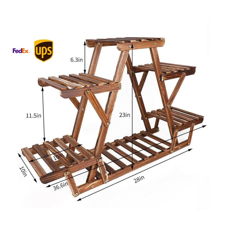 Wood Plant Stand Indoor Outdoor Carbonized Triangle 6 Tiered image 0