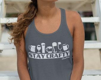 Craft Beer Shirt Stay Crafty Women/'s Flowy Racerback Tank Craft Beer Funny Beer Shirts Beer Brewing Shirt Women/'s Gift Beer Gift Beer