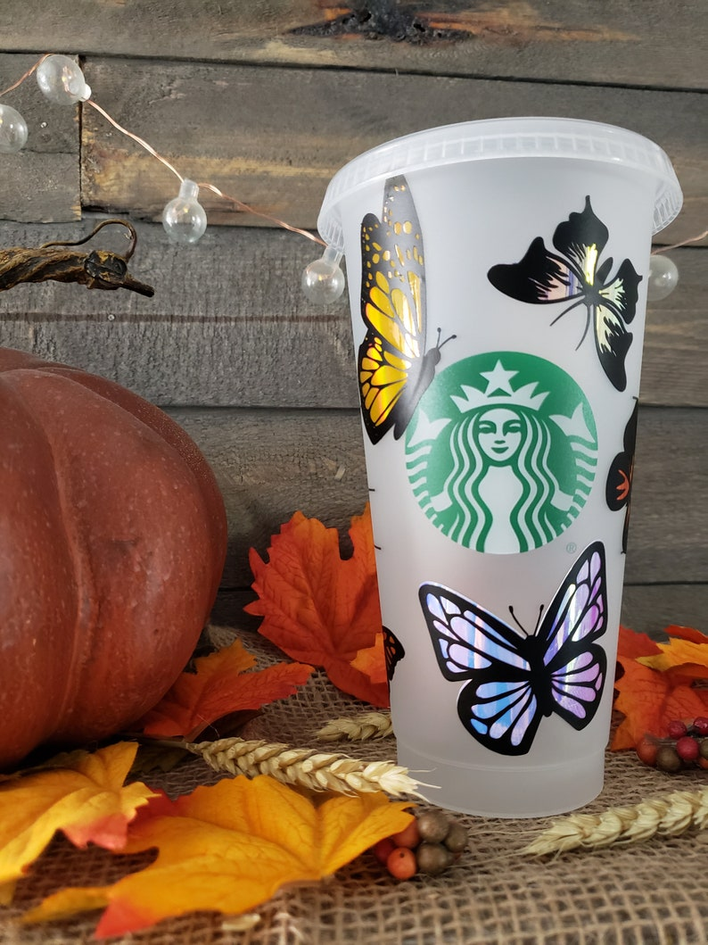 Holographic Butterfly Starbucks Reusable Personalized Venti Cold Cup Tumbler
