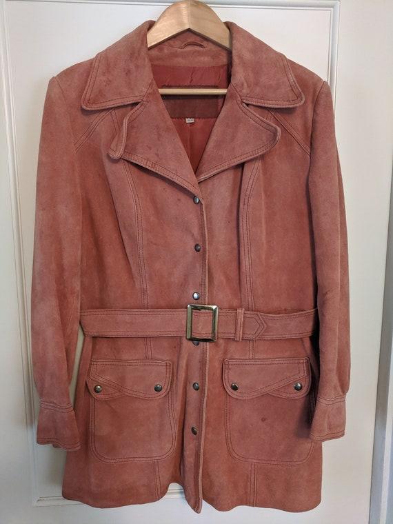 Vintage 70's Suede Leather Jacket Coat Snaps Belte