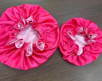 Mommy & Me Silk Reversible Double Layer Bonnet Set