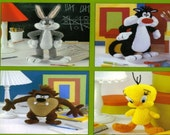 ALMOST FREE Vintage Crochet Looney Tunes Characters Bugs Bunny Sylvester Tweety Taz Toys Pattern Pdf Instant DOWNLOAD Leisure Arts
