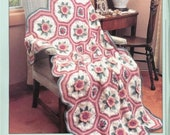CUTE Victorian Afghan Dimensional Octagon Afghan With Roses Crochet Pattern Pdf Instant Download Romantic Plaid Blanket Afghan Throw