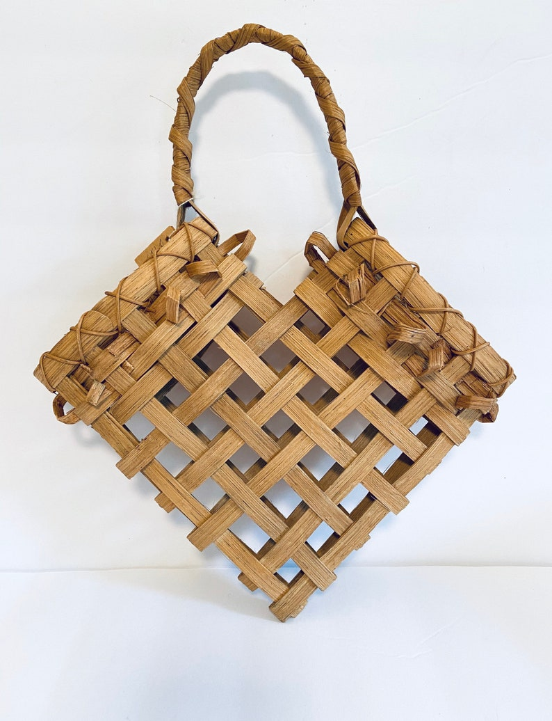 heart wall basket vintage Handmade Handwoven Hanging Heart Basket wall pocket eclectic boho