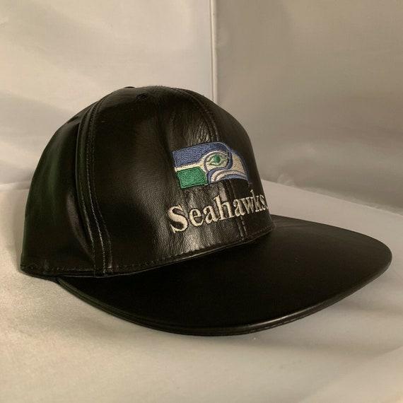 NEW Vintage Seattle Seahawks Leather Black Basebal