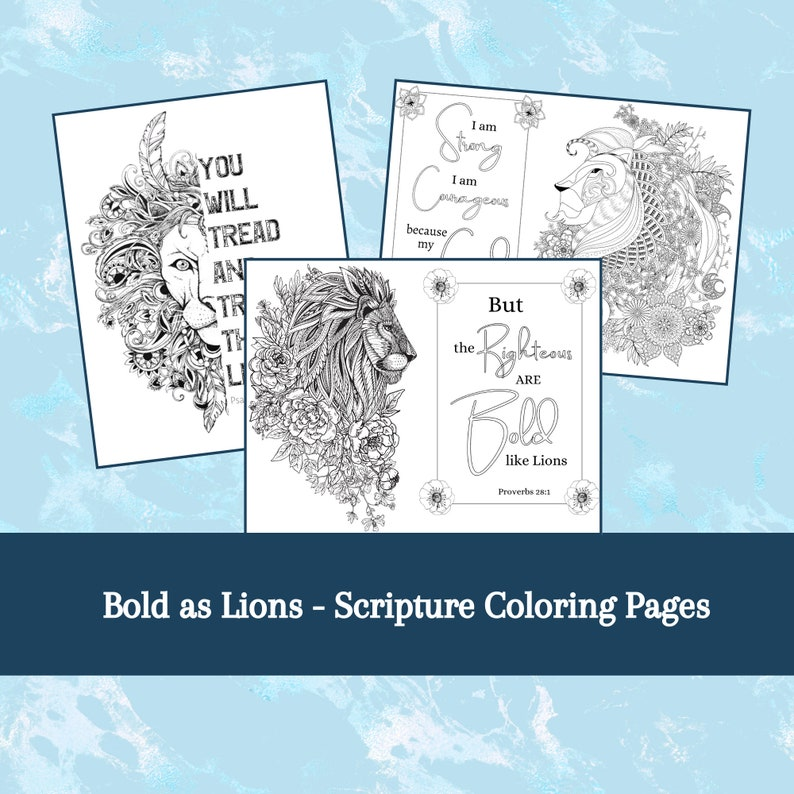 Bold As Lions Bible Verse Coloring Pages Printable Christian Etsy