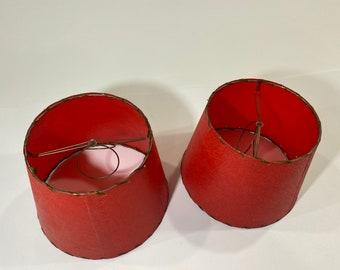 Vintage Fiberglass Mini Lamp Shade Set, MCM, Midcentury, Red, Pair