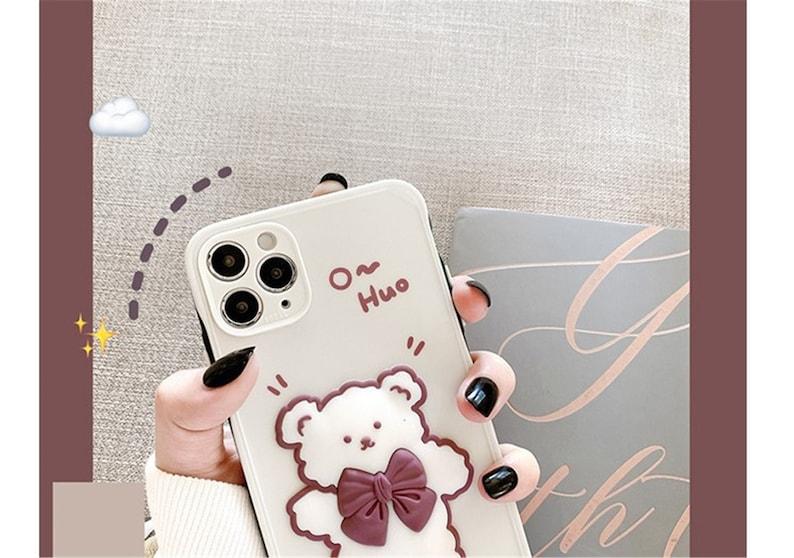 Cute Cartoon Teddy Bear iPhone case,Slicion case sheer Cover iPhone7plus811 pro max12 mini12proMaxXRXsMax Birthday Gifts girls lover