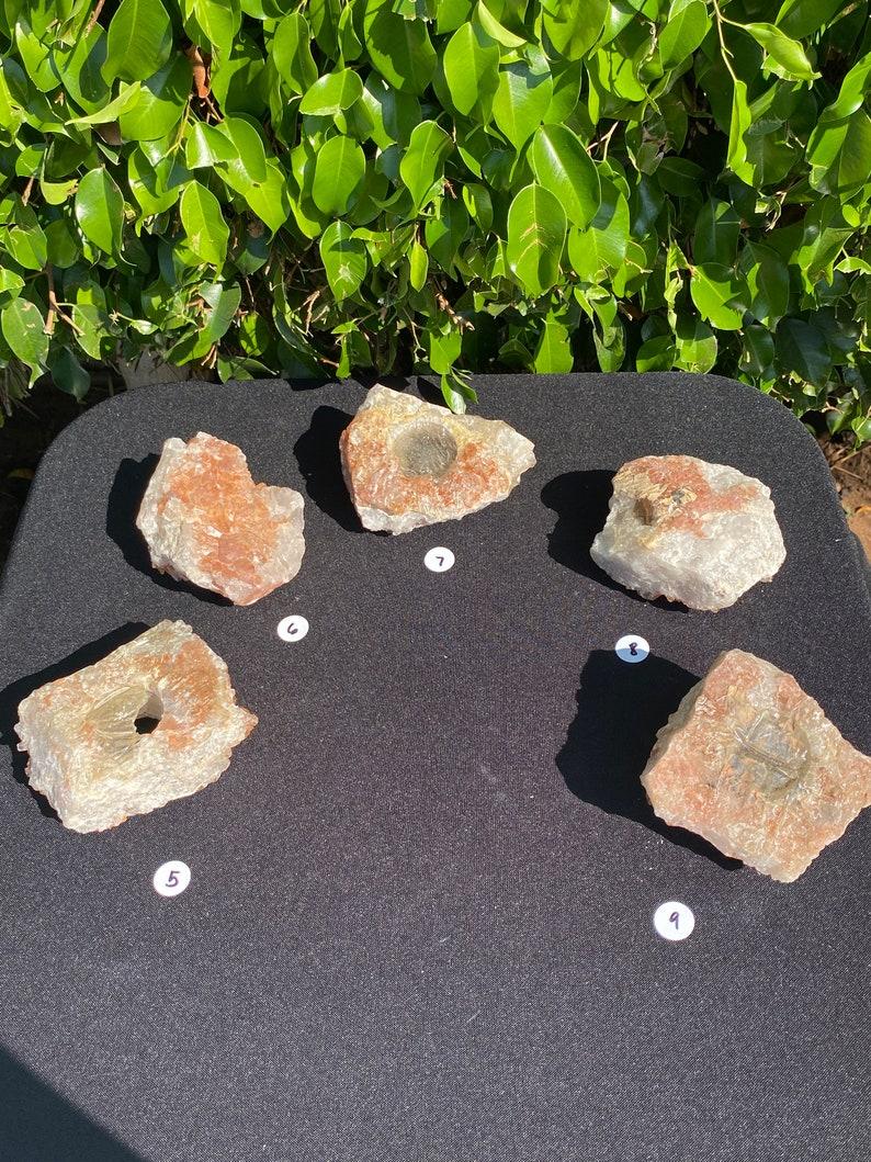 Tangerine Quartz Natural Candle Holders