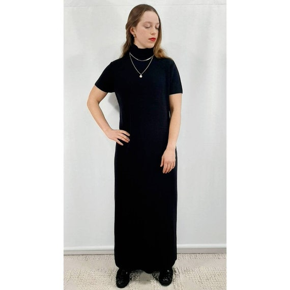 Vintage Maxi Dress, Pure Merino Wool Dress, Black