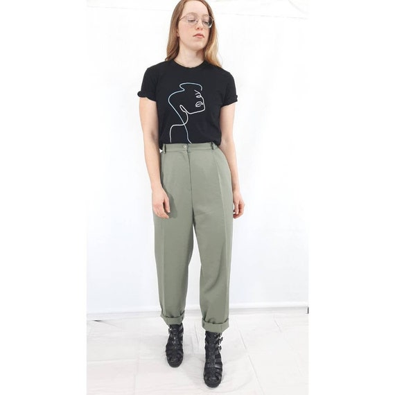 Vintage Trousers, Green High Waisted Pants