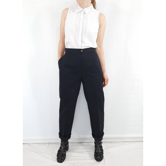 Vintage Trousers, Navy High Waisted Pants