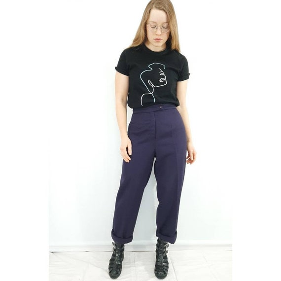 Vintage Trousers, Purple High Waisted Pants