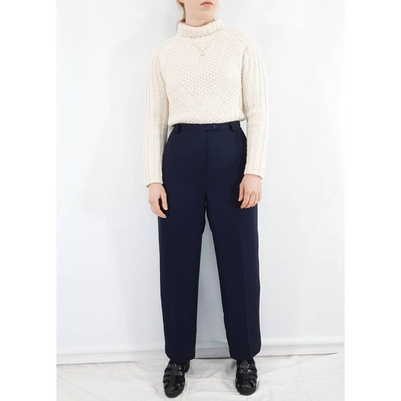 Pure Wool Trousers, Navy Wool Pants, Vintage Pants