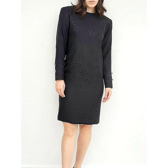 Pure Silk Dress, Vintage Black Dress, 1980s Silk D