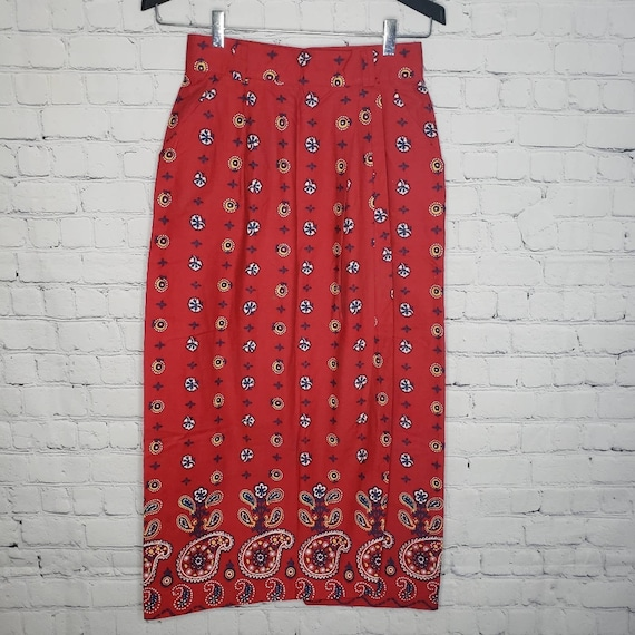 1980s NOS Red and White Printed Knit Skirt