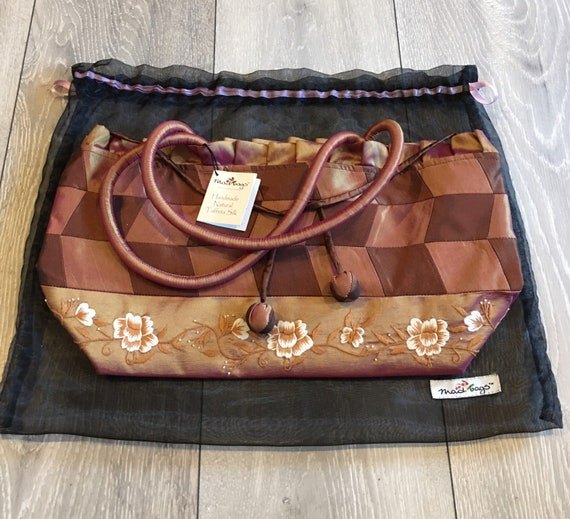 Taffeta silk hand made bag- by mad bags