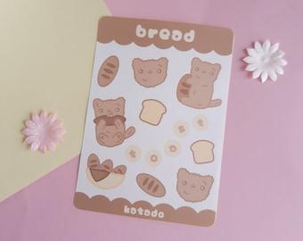 Bread Sticker Sheet, kiss cut sticker sheets, kawaii stickers, deco stickers