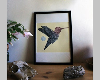 Hummingbird // hand-printed linocut // Wall decoration // Unique pieces // limited edition