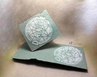 "Bilet ""Danke"" made of handmade paper // Thank you card // Linoleic print 6 x 6 cm"